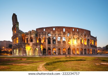Colosseum at night. Rome - Italy - stock photo