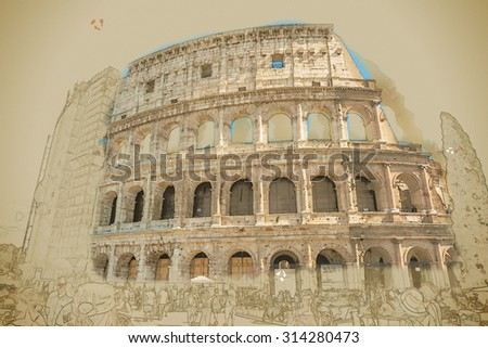 Colosseum (Coliseum) in Rome, Italy. Main tourist attraction of Rome. Travel background illustration. Painting with watercolor and pencil. Brushed artwork. - stock photo