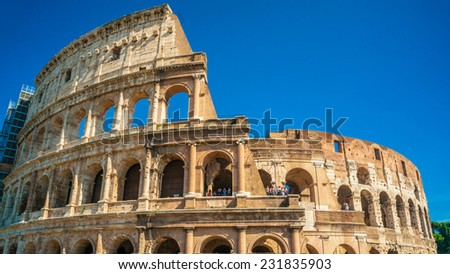 Colosseum (Coliseum) in Rome, Italy. The Colosseum is an important monument of antiquity and is one of the main tourist attractions of Rome. - stock photo