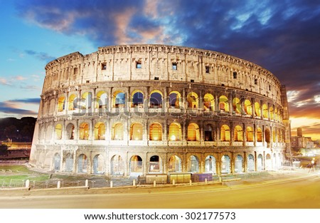 Colosseum in Roma, Italy - stock photo