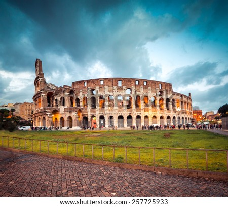 Colosseum in Rome at sunset, Italy - stock photo