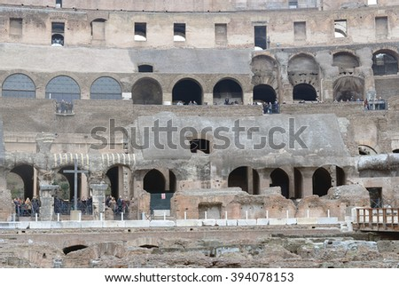 COLOSSEUM IN ROME - DECEMBER 19, 2015. The tourist sightseeing in Colosseum in Rome, Italy. - stock photo