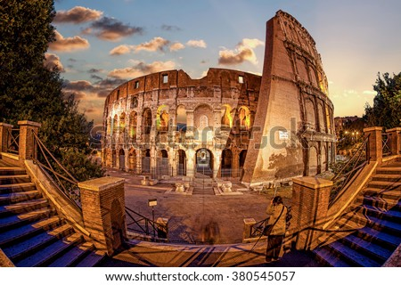 Colosseum in the evening, Rome, Italy - stock photo