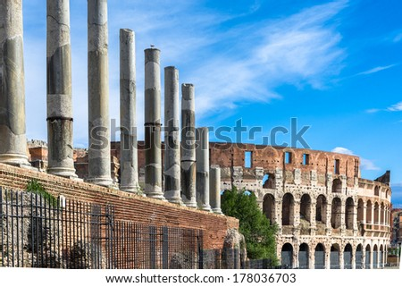 Colosseum is an elliptical amphitheatre in the centre of Rome,Italy.Built of concrete and stone,it was the largest amphitheatre of the Roman Empire.It is the largest amphitheatre in the world - stock photo