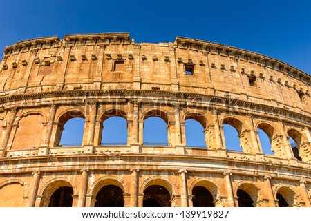 Colosseum or Coliseum, Rome, Italy. One of the main touristic destinations in Rome - stock photo