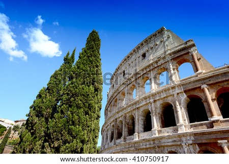Colosseum over blue sky background, Rome, Italy - stock photo