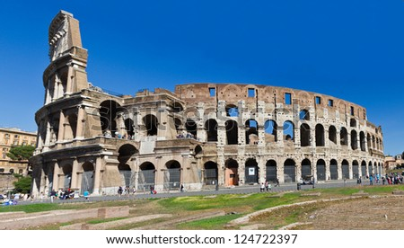 Colosseum -The Flavian Amphitheater in Rome, Italy - stock photo