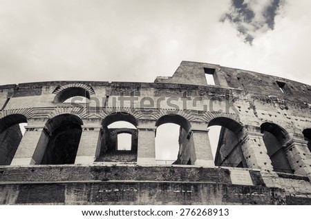 Colosseum the most well-known and remarkable landmark of Rome and Italy - stock photo