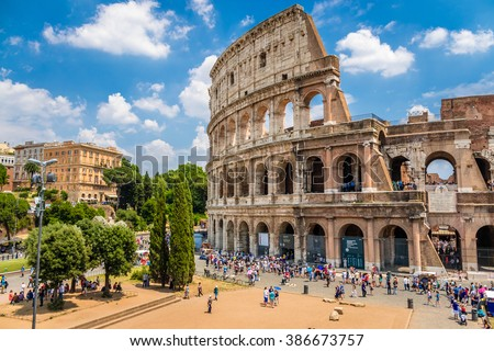 Colosseum with clear blue sky, Rome, Italy - stock photo