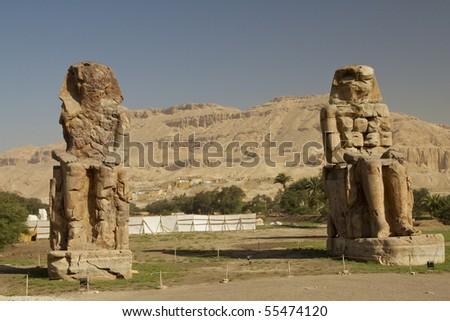 colossi of mennon - stock photo