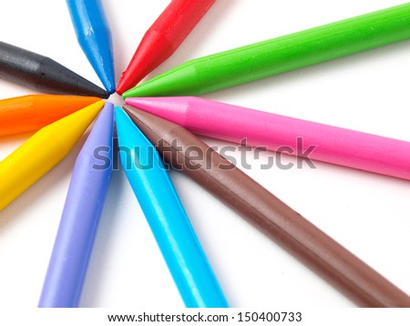 Colour crayons isolated on white background close up  - stock photo