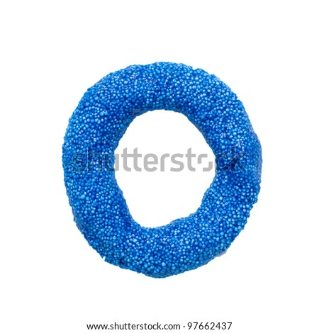"""Colour foam plasticine letter """"O"""" isolated on a white background with clipping path - stock photo"""