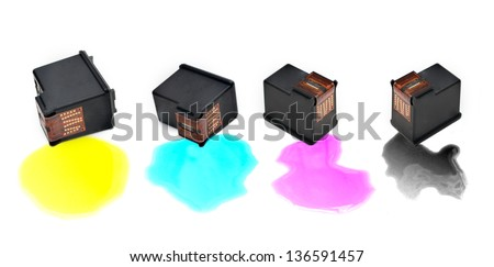 Colour Ink Cartridges on White Background - stock photo