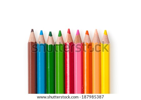 Colour pencils isolated on white background. - stock photo