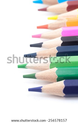 Colour pencils isolated on white background close up. - stock photo