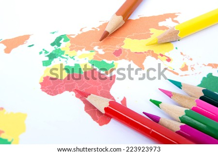 Colour pencils isolated on white background close up, paint to image - stock photo