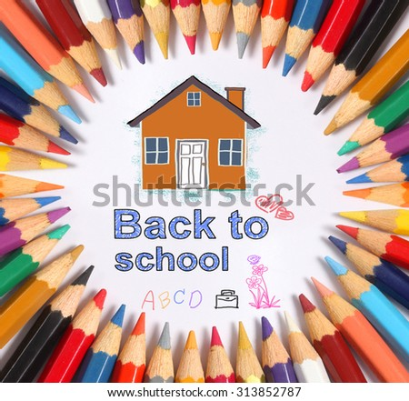 Colour pencils on white background. Back to school  - stock photo