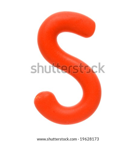 Colour plasticine letter isolated on a white background - red S - stock photo