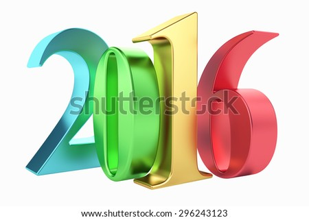 Colour signs 2016 new year on white background. 3d rendered image. - stock photo