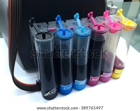 colour tank on inkjet printer - stock photo