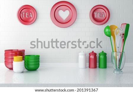 Colour utensils and dishware on the white worktop. Kitchen interior. - stock photo