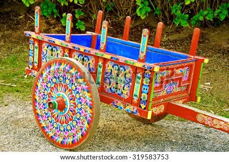 coloured decoration wagon - stock photo