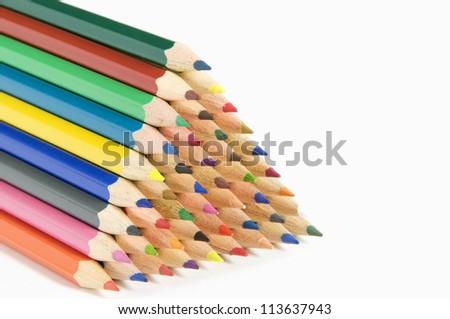 Coloured Pencils On White Background - stock photo