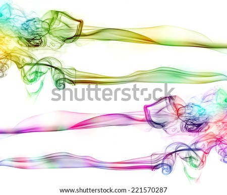 Coloured smoke, green and pink - stock photo