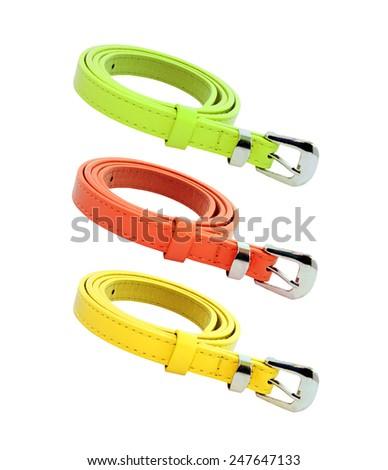 colourful belt isolated on white background - stock photo