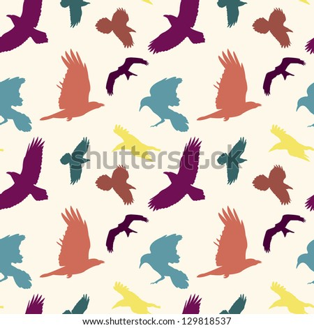 Colourful birds silhouettes seamless pattern. Vector version available in my portfolio - stock photo