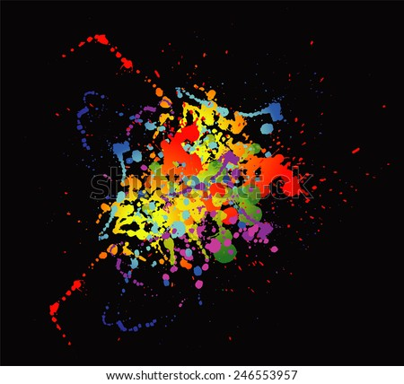 Colourful bright ink splat design with a black background template - stock photo