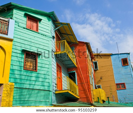 Colourful buildings in La Boca - stock photo