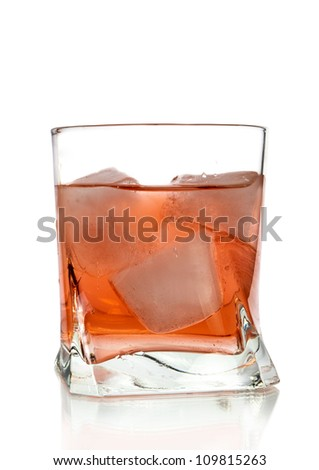 Colourful cocktail in glasses with ice - stock photo
