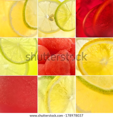Colourful cocktails patterns set - stock photo