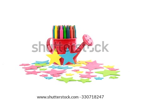 colourful crayon with star - stock photo