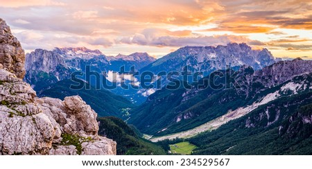 Colourful dusk in Julian Alps - stock photo