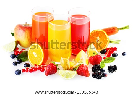 Colourful glasses of healthy fresh drinks from liquidised fruit and vegetables with an array of colourful fresh fruit around the glasses on a white background - stock photo