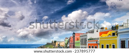 Colourful homes of San Juan, Puerto Rico. - stock photo