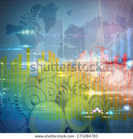 Colourful illustration of develop international success background - stock photo