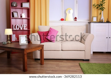 Colourful interior. Comfortable living room - stock photo