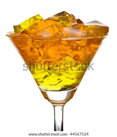 Colourful jelly in glass, isolated over white background - stock photo