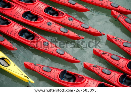 Colourful kayaks in Halong Bay, VIetnam - stock photo