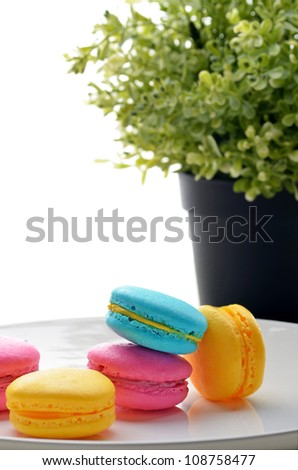 Colourful macarons on the table - stock photo