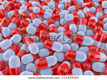 colourful medical pills background render in red - stock photo
