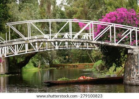 Colourful Mexico  Xochimilco's Floating Gardens in Mexico City. - stock photo