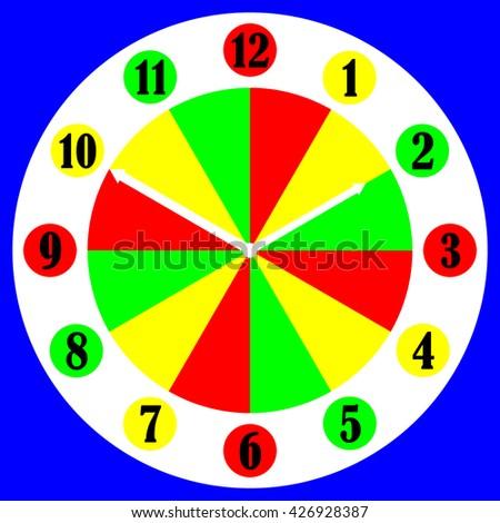 Colourful numerical clock face - stock photo