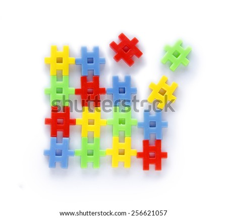 Colourful of construction toys, abstract of construction, business or organization formationing - stock photo