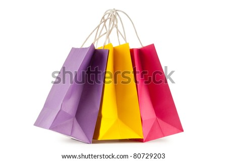 Colourful paper shopping bags isolated on white - stock photo