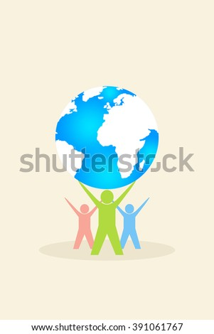 Colourful people with world globe - stock photo