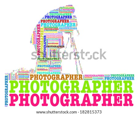 Colourful photographer info-text graphic and arrangement concept on white background (word cloud) - stock photo